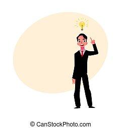lightbulb, affari, simbolo, intuito, giovane, idea, uomo affari, detenere