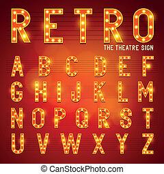 lightbulb, alfabeto, retro
