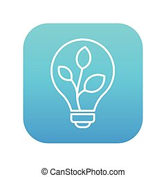 Lightbulb and plant inside line icon. - Lightbulb and plant...