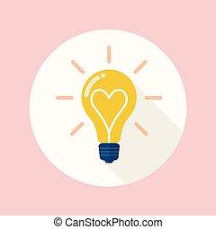 lightbulb, appartamento, amore, icona