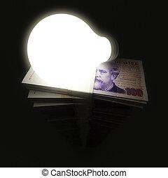 lightbulb, argent, pile