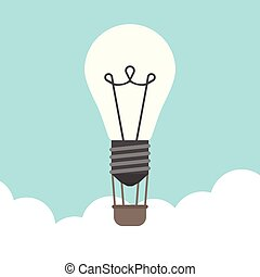 Glowing lightbulb hot air balloon flying above clouds on blue sky background. Inspiration, discovery, idea, growth and insight concept. Flat design. Vector illustration. EPS 8, no transparency