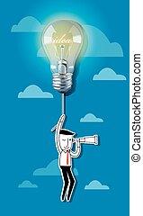 lightbulb, balloon, idea, affari