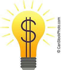 lightbulb, barwny, handlowa idea, wektor, dolar