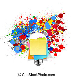 lightbulb, begrepp, klistrig anteckning, färger, plaska, ...