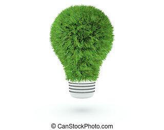 lightbulb, blanc, herbe, isolé