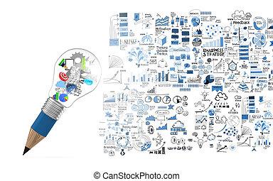 lightbulb, bleistift, begriff, geschaeftswelt, kreativ, gehirn, design, 3d