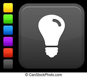 lightbulb, botão, quadrado, ícone, internet