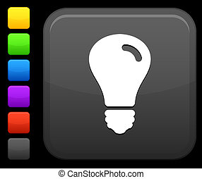 lightbulb, bouton, carrée, icône, internet