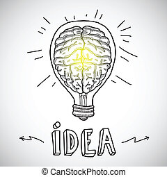 lightbulb, cérebro, esboço, human