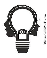 lightbulb, cabeça, human