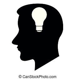lightbulb, cabeça, silueta, ícone
