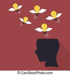 lightbulb, cabeça, voando, human
