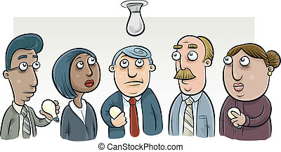 Lightbulb Change Committee - A group of cartoon people try...