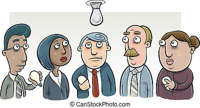 lightbulb, changement, comité