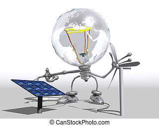 Lightbulb character showing electricity