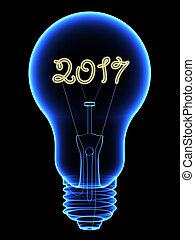 lightbulb, chiffres, intérieur, isolé, étincelant, noir, 2017, rayon x