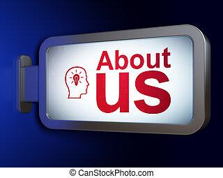 lightbulb, circa, render, testa, ci, fondo, pubblicità, tabellone, concept:, 3d
