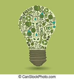 lightbulb, com, esboço, ecologia, e, desperdício, ícones
