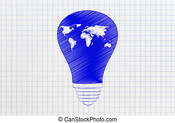 lightbulb, con, mappa mondo, globale, innovazione
