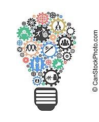 lightbulb, conceito, trabalho equipe