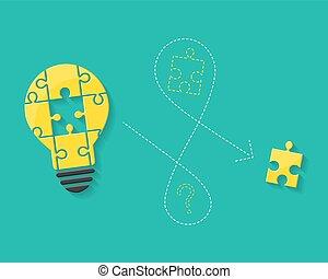 lightbulb, concept, disparu, puzzle, solution, idée, morceau