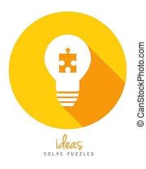 lightbulb, concept, puzzle, idée, solution, morceau