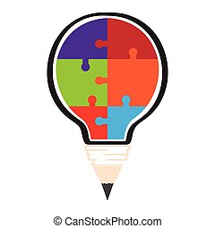lightbulb, conceptuel, puzzle, idée, morceaux