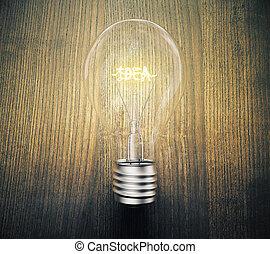 lightbulb, concetto, legno, idea, ardendo, tavola