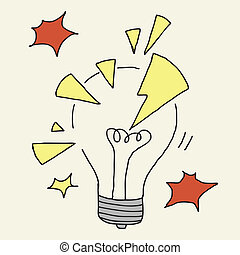 Illustration of hand drawn cartoon lightbulb cracked