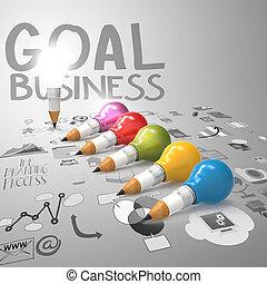 lightbulb, crayon, concept, business, créatif, conception, 3d