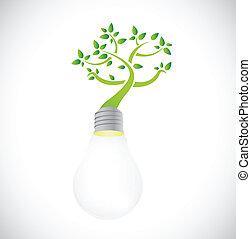 lightbulb, crescendo, árvore., verde, ilustração