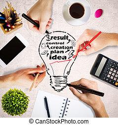 lightbulb, croquis, bureau, bureau