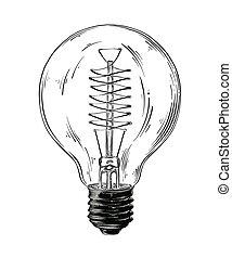 lightbulb, détaillé, croquis, drawing., vendange, isolé, illustration, main, arrière-plan., vecteur, noir, dessiné, blanc, style