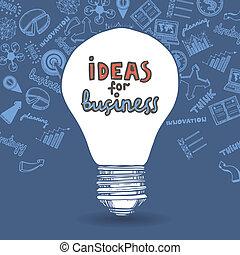 lightbulb, dessin, stratégie commerciale