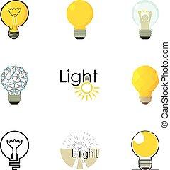 lightbulb, diferente, jogo, criativo, ícones