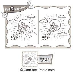 lightbulb, différences, jeu, trouver, 9
