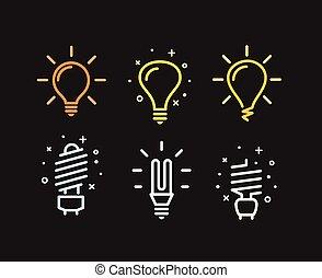 lightbulb, différent, moderne, silhouettes, vecteur