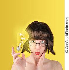 lightbulb, donna, idea, sorpreso