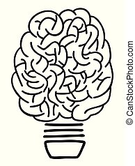 lightbulb, doodle, esboço, cérebro