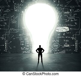 Lightbulb door - Businessman in front of a bright lightbulb...