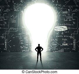 Lightbulb door - Businessman in front of a bright lightbulb...