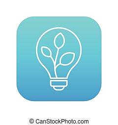 lightbulb, e, planta, dentro, linha, icon.