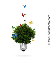 lightbulb, eco, 中, 木, 成長する, concept:
