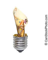 lightbulb, eco, billets banque, concept:, ampoule, euro
