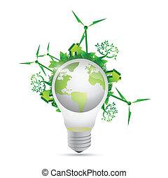 lightbulb, eco, klot, design, illustration