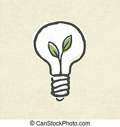lightbulb, ecologia, eps10, ilustração, concept., vetorial