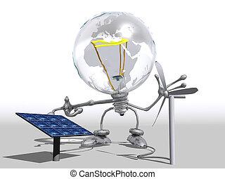 lightbulb, electricidade, mostrando, personagem