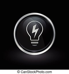 Lightbulb electricity energy icon inside round silver and black emblem