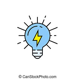 lightbulb, elektricitet linje, ikon